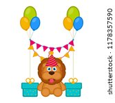 cute lion with a party hat and... | Shutterstock .eps vector #1178357590