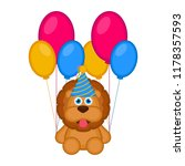 cute lion with a party hat and... | Shutterstock .eps vector #1178357593