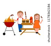 couple enjoying a barbecue... | Shutterstock .eps vector #1178362186