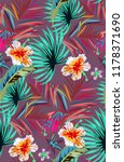 tropical pattern with neon palm ... | Shutterstock .eps vector #1178371690