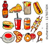 hand drawn scary fast food... | Shutterstock .eps vector #117837604