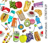 hand drawn fast food elements... | Shutterstock .eps vector #117837619