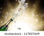 close up of champagne explosion | Shutterstock . vector #117837649