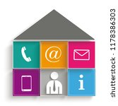 house shape contact icons on...   Shutterstock .eps vector #1178386303