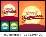 set of happy helloween greating ... | Shutterstock .eps vector #1178395420
