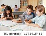 schoolboys working together... | Shutterstock . vector #1178415466