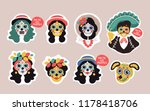 funny skull girls  man  dog... | Shutterstock .eps vector #1178418706