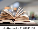 book in library with old open... | Shutterstock . vector #1178436130