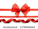 red ribbons with beautiful bow... | Shutterstock . vector #1178446663