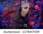 woman and numerology world | Shutterstock . vector #1178447059