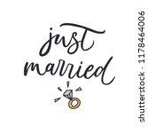 just married. hand drawn vector ... | Shutterstock .eps vector #1178464006