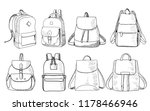 sketch of backpack  set  vector ... | Shutterstock .eps vector #1178466946