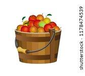 wooden bucket with apples.... | Shutterstock .eps vector #1178474539