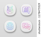 chatbots app icons set. ui ux...