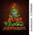 christmas neon sign against red ... | Shutterstock .eps vector #117848680
