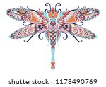 colorful zentangle dragonfly... | Shutterstock .eps vector #1178490769