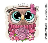 cute cartoon owl with flowers... | Shutterstock .eps vector #1178502283
