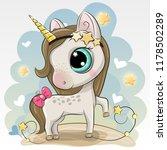cute cartoon unicorn on a blue... | Shutterstock .eps vector #1178502289