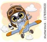 Cute Cartoon Raccoon Is Flying...