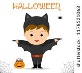 cute child dressed in a bat... | Shutterstock .eps vector #1178521063
