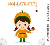 cute child dressed in costume... | Shutterstock .eps vector #1178521093