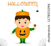 cute child dressed in costume... | Shutterstock .eps vector #1178521096