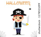 cute child dressed in a pirate... | Shutterstock .eps vector #1178521099