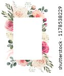 Stock photo watercolor floral frame composition with roses and eucalyptus 1178538229