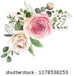 Stock photo watercolor floral bouquet composition with roses and eucalyptus 1178538253