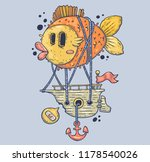 giant fish and sea ship.... | Shutterstock .eps vector #1178540026