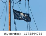 pirate flag at the mast on blue ... | Shutterstock . vector #1178544793
