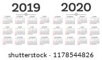 calendar 2019 2020 isolated on... | Shutterstock .eps vector #1178544826