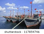 Moored Wooden Fishing Boat In...