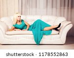 beautiful blond in blue formal... | Shutterstock . vector #1178552863