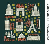 clipart collection with paris... | Shutterstock .eps vector #1178553856
