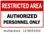 restricted area sign vector... | Shutterstock .eps vector #1178555353