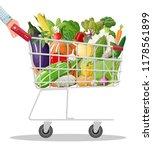 metal shopping cart full of...