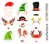 christmas photo booth mask set. ... | Shutterstock .eps vector #1178575930