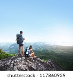 hikers with backpacks standing... | Shutterstock . vector #117860929