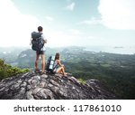 hikers with backpacks standing... | Shutterstock . vector #117861010
