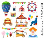 set of circus and amusement... | Shutterstock .eps vector #1178619403