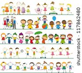 many sets of boys  girls and... | Shutterstock .eps vector #117862480