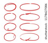 red hand drawn marker elements  ...   Shutterstock .eps vector #1178627086
