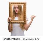 blonde teenager woman holding... | Shutterstock . vector #1178630179
