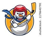 snowman hockey mascot | Shutterstock .eps vector #1178640790