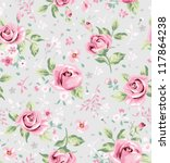 seamless cute vintage tiny... | Shutterstock .eps vector #117864238