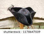 Feathered Black Felt Hat  For...