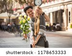 beautiful young couple with...   Shutterstock . vector #1178653333