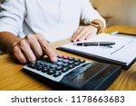 businessmen calculate the... | Shutterstock . vector #1178663683