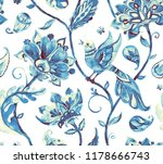 paisley watercolor floral... | Shutterstock . vector #1178666743